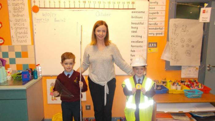 Daithi and Niamh showing the architect's equipment and safety clothes.